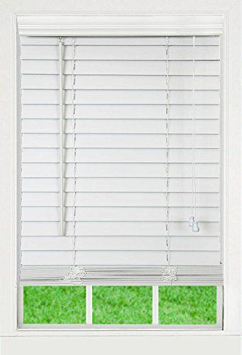 c8552a2d5d335 Corded, 2 inch Faux Wood Blind, White, 36W x 84L | Home Decor ...