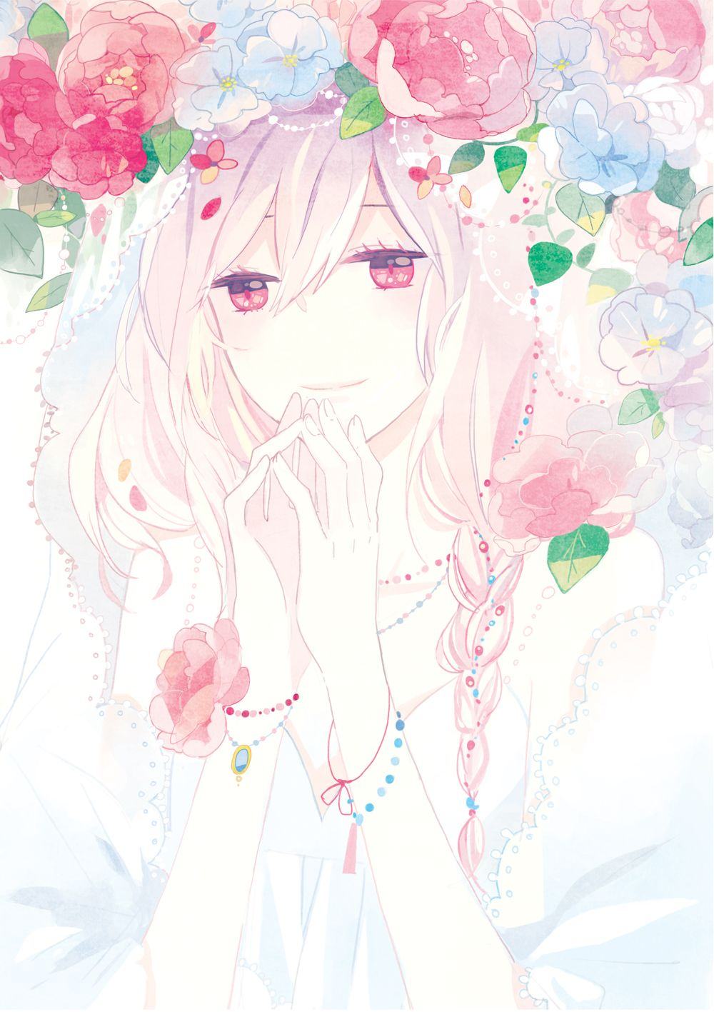 Pretty anime girl with flowers appears to be a bride or maybe just wearing a white dress like luka in just be friends