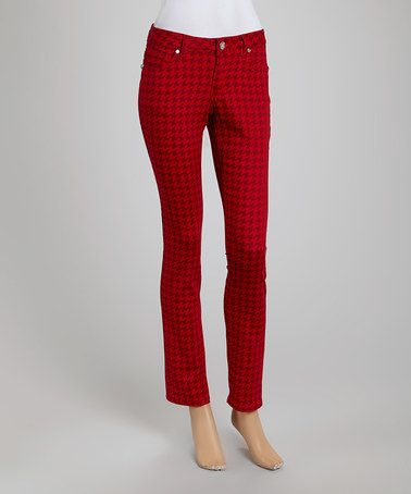 Look what I found on #zulily! Red Houndstooth Straight-Leg Jeans #zulilyfinds