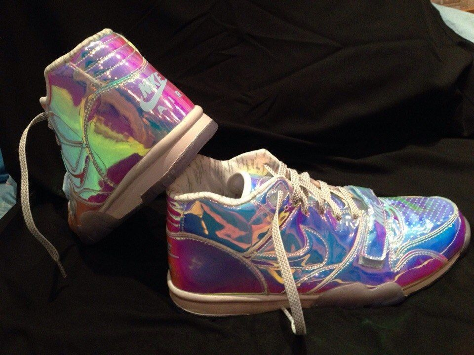 Nike Air Trainer 1 Mid PRM QS Superbowl Pack Multi Color Ice Blue Hologram Sz12 | eBay