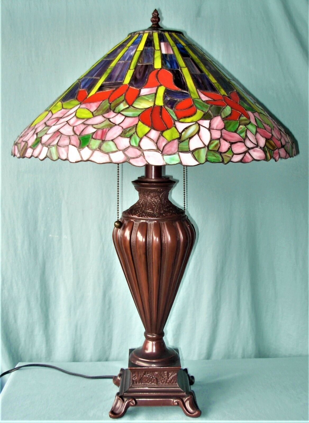 Details About Tiffany Style Large Multi Colored Stained Glass Lamp Glass Lamp Tiffany Lamps Lamp