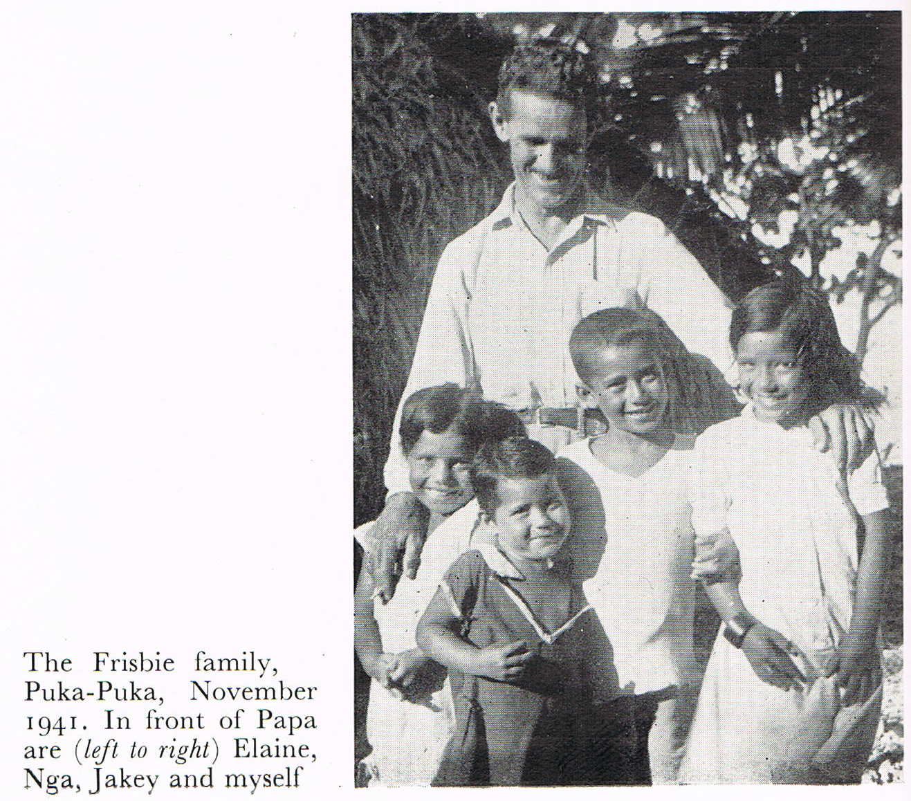 Robert Dean Frisbie with his children Johnny, Jakey, Elaine, and Nga.