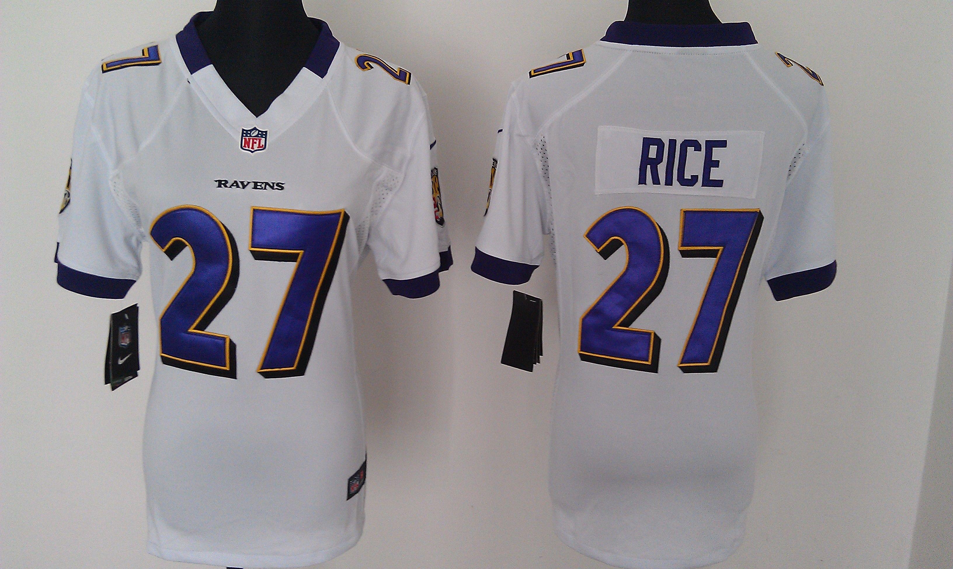 NFL Baltimore Ravens  27 Ray Rice White Women Jerseys  ec50e3d48