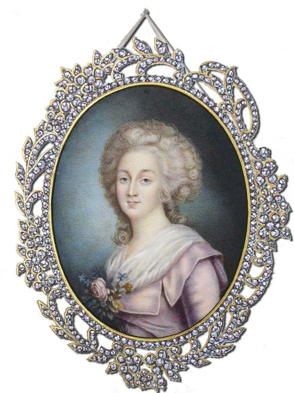 Miniature Portrait Of Madame Elizabeth by Jean Liotard (notice the jewels around the portrait)