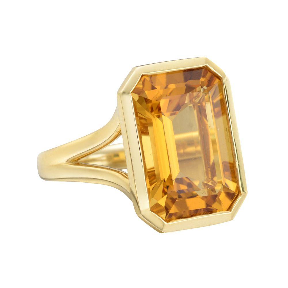 Goshwara Gossip 3 Stone Citrine Emerald Cut Rings - 6.5 (M) rxL6rHcF