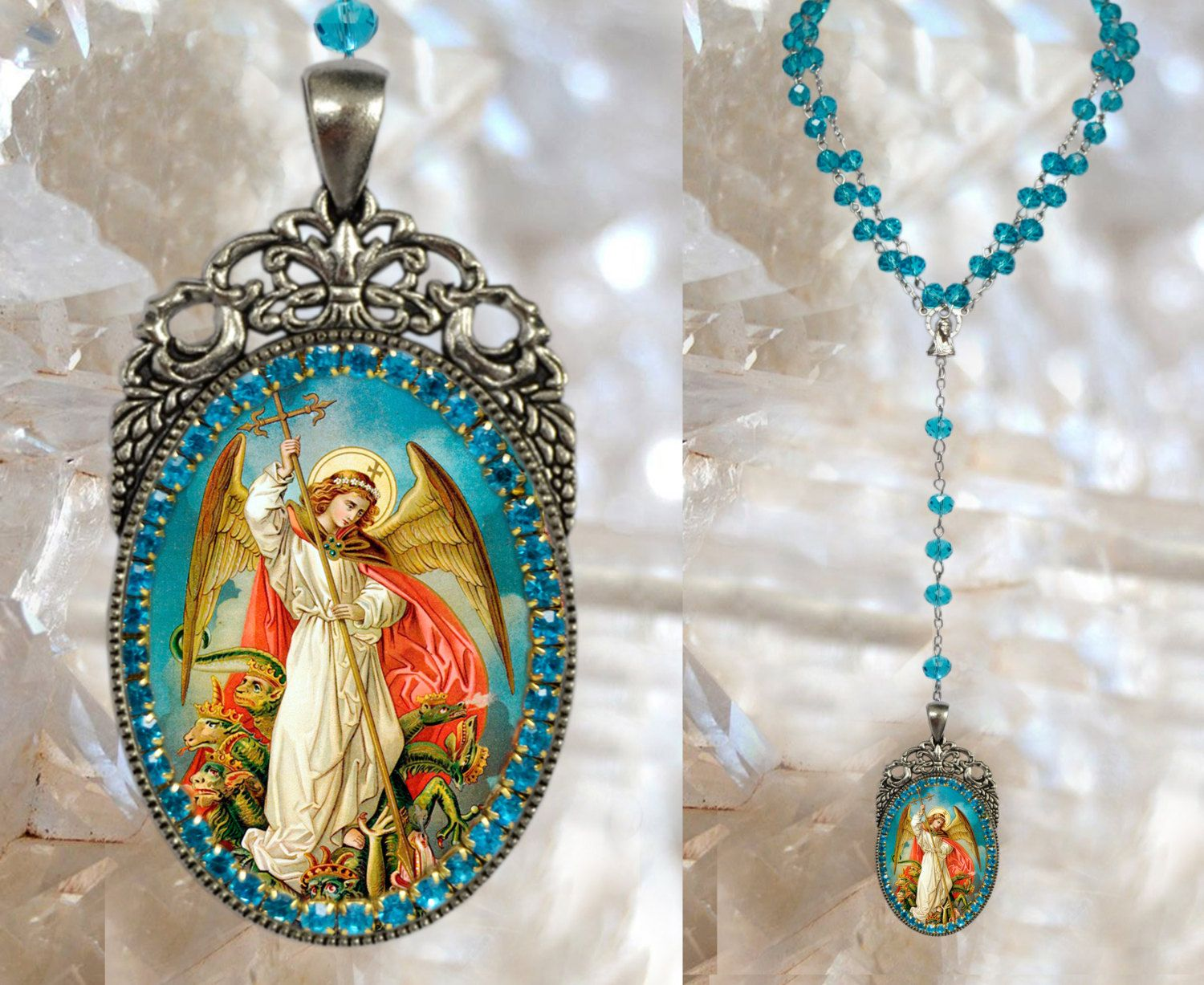 Rosary of St. Michael Archangel Handmade Catholic Christian Religious Rosaries Jewelry Medal Pendant Arcanjo Miguel #rosaryjewelry