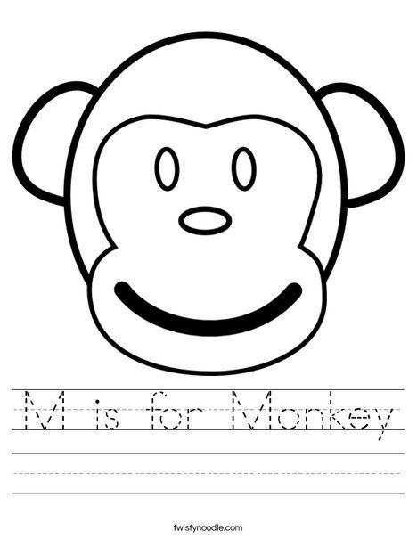 M is for Monkey Worksheet - Twisty Noodle