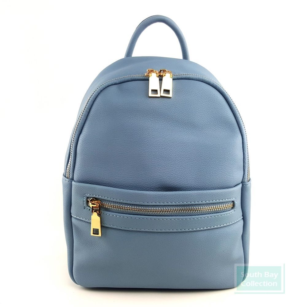 35b7bf525922 Women s Vegan Leather Backpack Purse Small Dusty Blue with Printed Lining   VeganLeather  Backpack  DustyBlue  FashionBackpack
