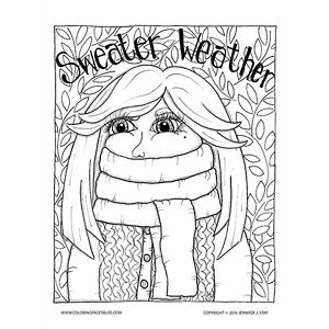Printable Coloring Page For Adults This Fun Coloring Page Celebrates The Change In Weather When Coloring Pages Cool Coloring Pages Thanksgiving Coloring Pages
