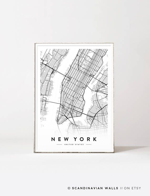 Digital Download Art// NEW YORK CITY MAP Welcome to SCANDINAVIAN ...