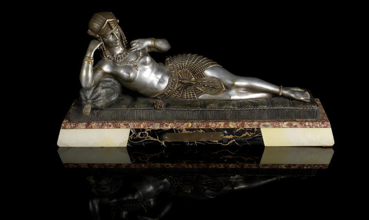 Demetre Chiparus (1886-1947)  'Cleopatra' a Silvered Bronze Sculpture, circa 1925 raised on a marble plinth with title plaque