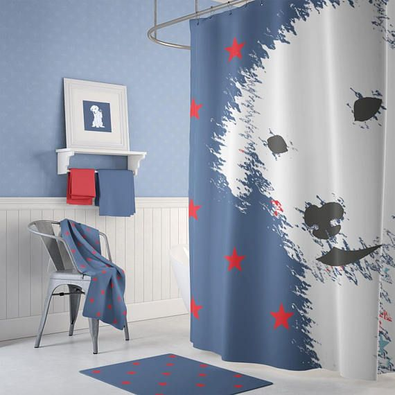 Kids Shower Curtain Dog Lovers Shower Curtain Red White And Blue