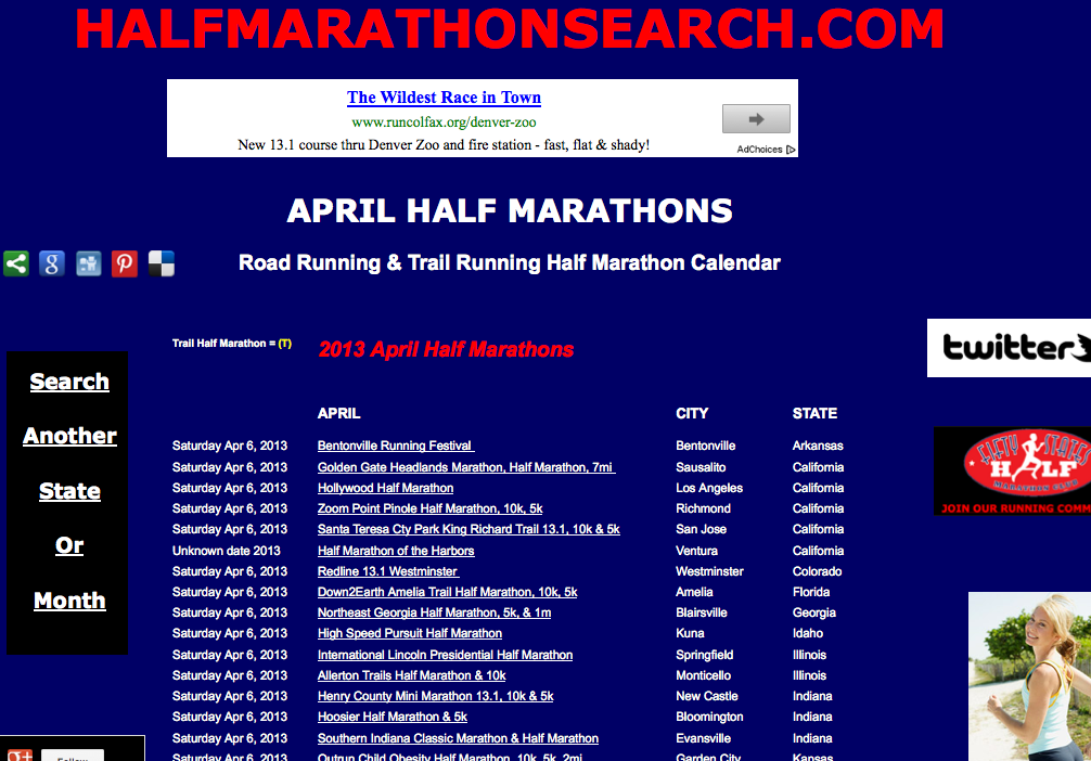 April Half Marathons April Half Marathon Calendar Now Search By State Or Search By Month For The Half Marathon Half Marathon Events Running Half Marathons