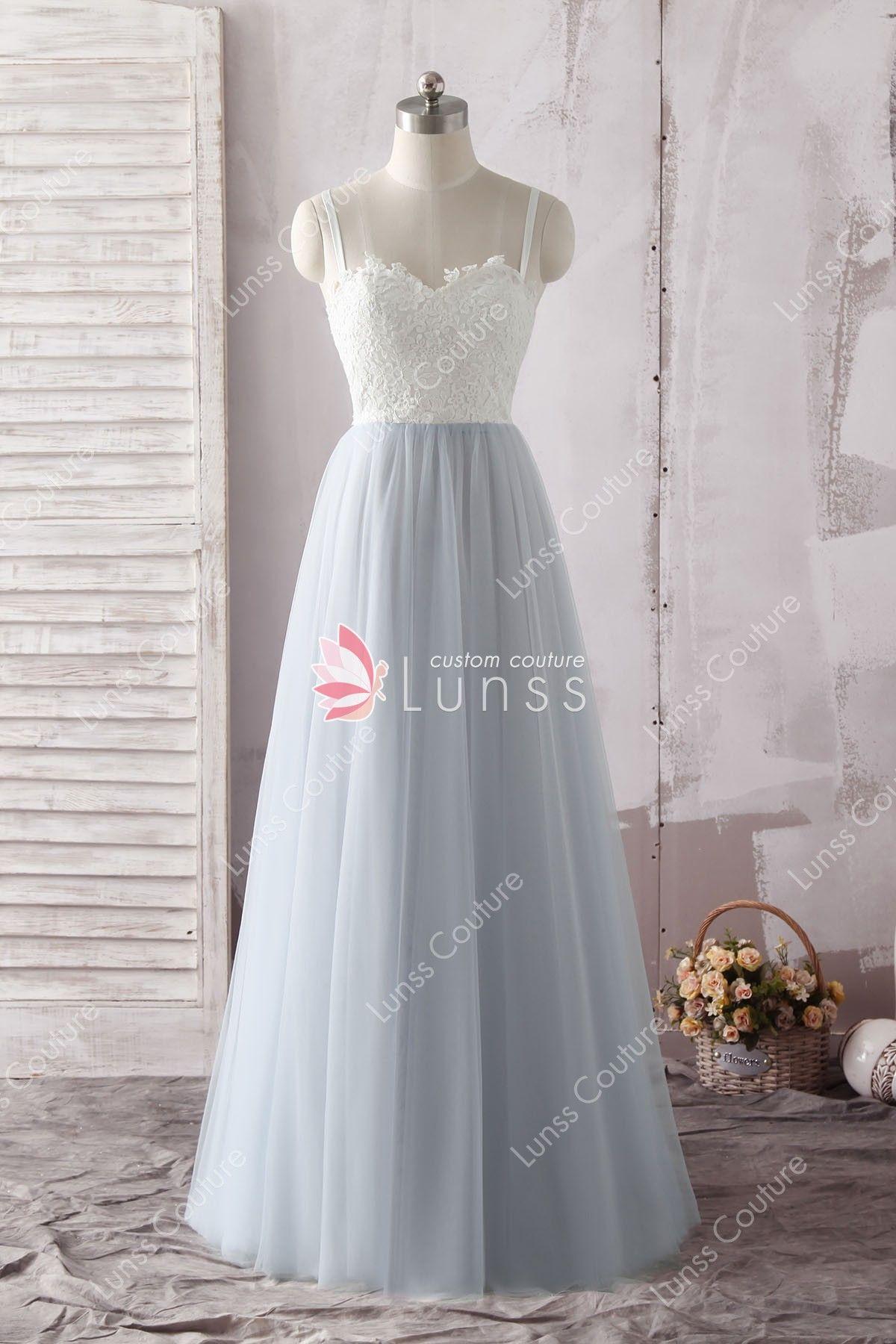 00d91c7831a0d Simple SPAGHETTI STRAP Semi-sweetheart Ivory Lace Bodice Slate Blue Tulle  Long Bridesmaid Dress