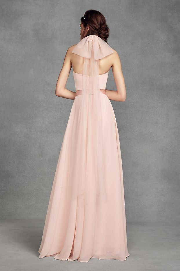 Chiffon Halter Pink Bridesmaid Dress with Tulle Bow by WHITE by Vera ...