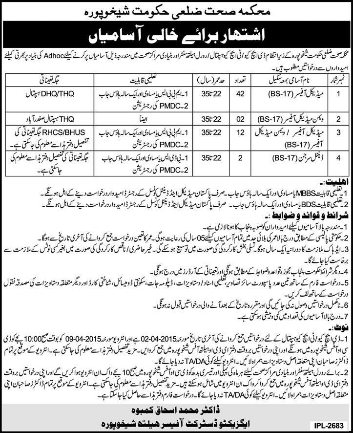 Jobs In Health Department District Government Has Announced