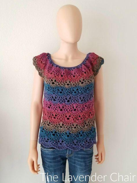 Lacy Shells Top (Adult) Crochet Pattern | Häkeln/Stricken ...