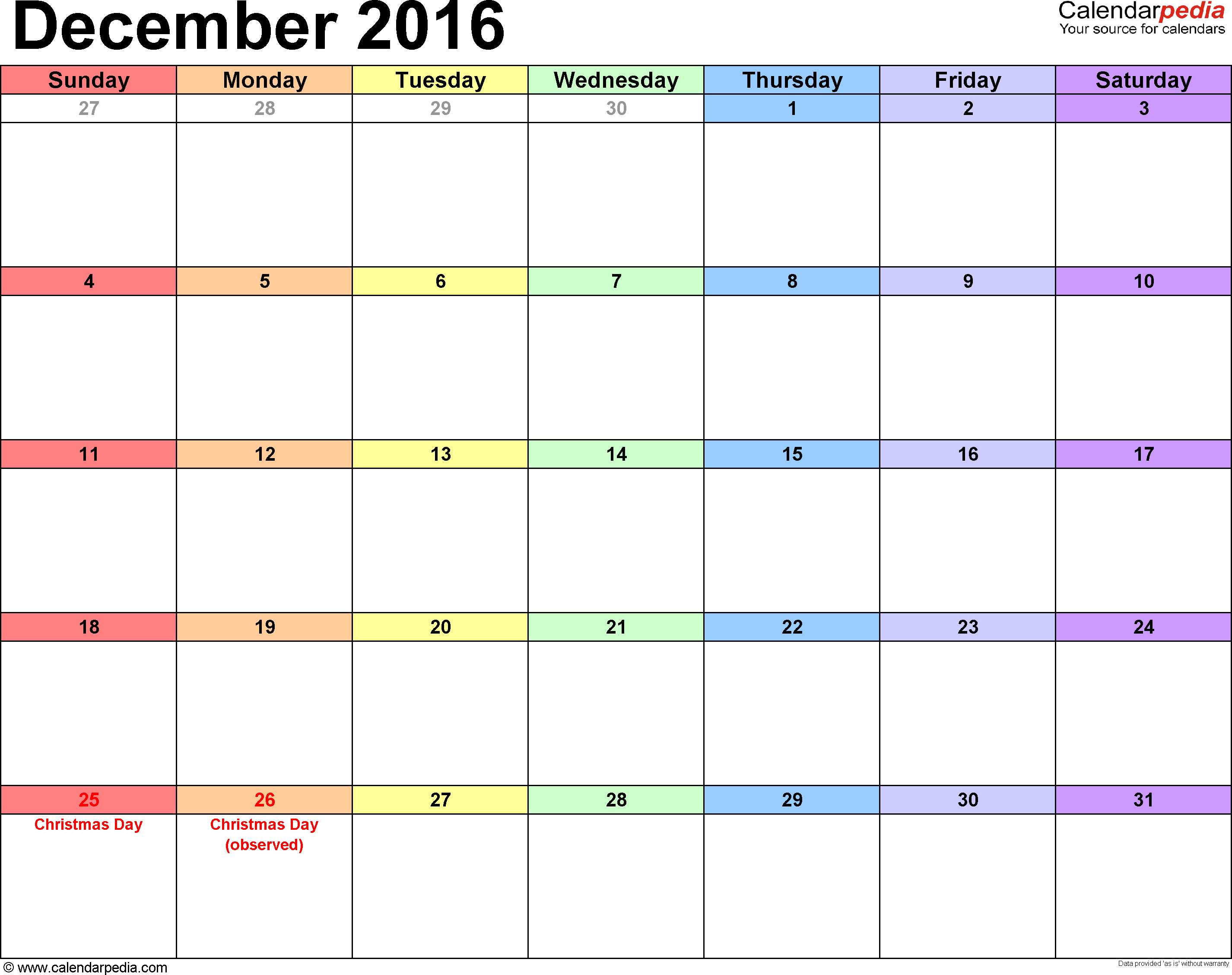 Calendar printable template for 2015 and 2016. More years ...