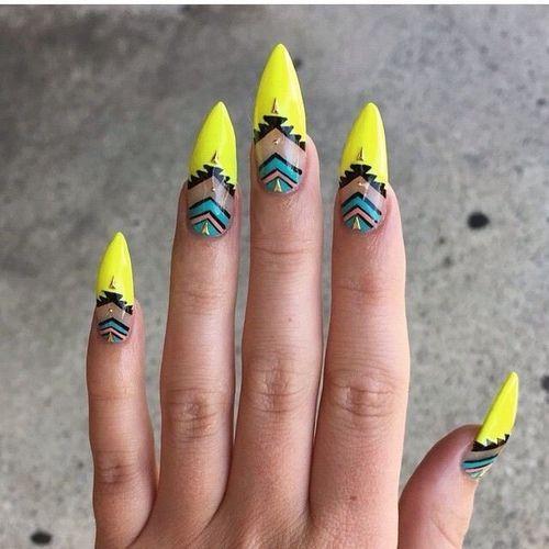 Neon Yellow Tribal Negative Space Nails nail neon nail art nail ...