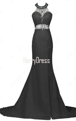 Backless Trumpet Mermaid Chiffon Sweep Train Beading Black Halter Prom Dress