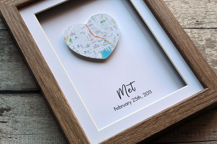 one heart map print, map print personalised, first anniversary gift for him, first anniversary gift