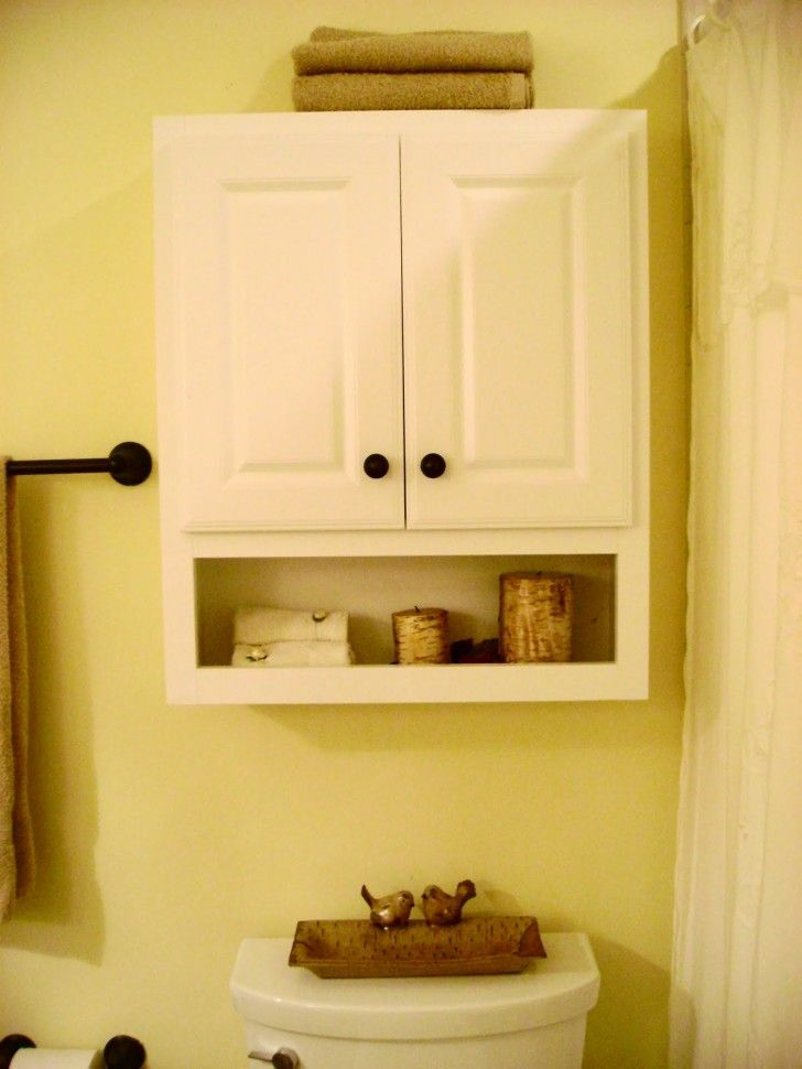 Furniture White Wooden Floating Bathroom Cabinet With Double Doors And Single Shelf On Cream Wall Cabinet Above Toilet Yellow Bathrooms Yellow Bathroom Walls
