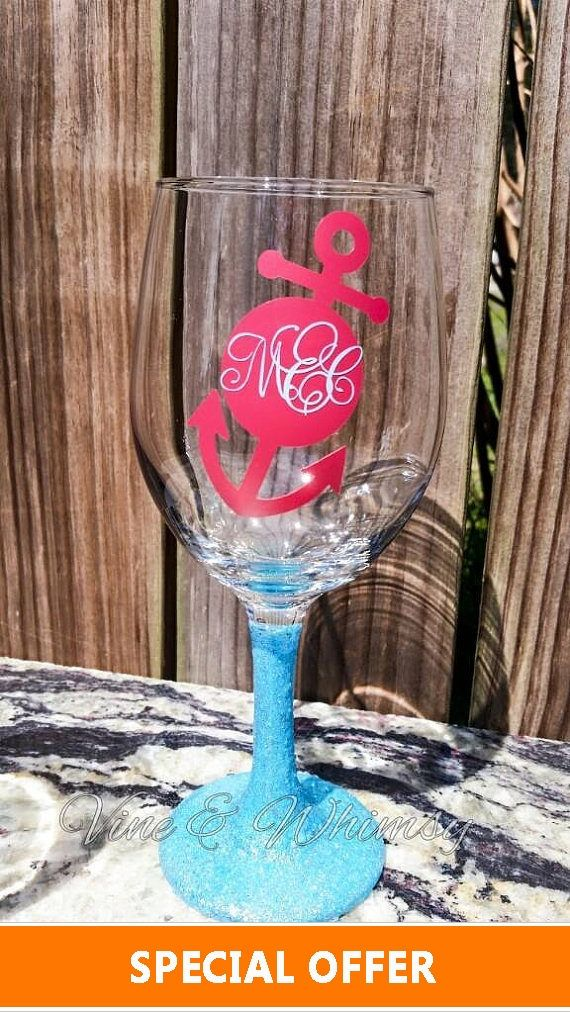Glitter Wine Glass Personalized Flute Custom Goblet Vinyl Decal - Vinyl decals for drinking glasses