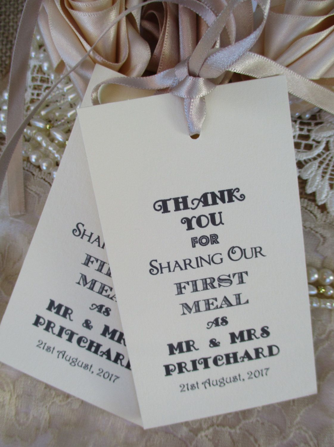 Wedding Table Decor Tags Personalised Thank You for Sharing Our ...