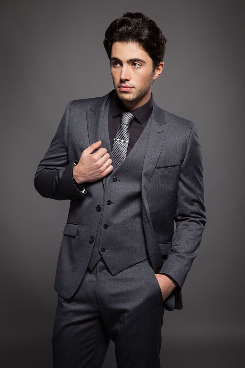 Onesix5ive grey three piece with black shirt and checker for Black suit with black shirt and tie