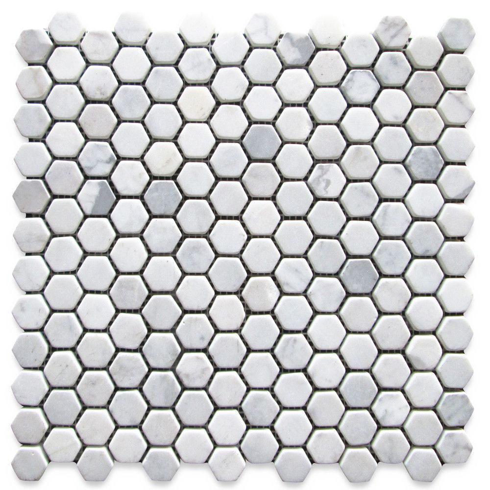 Italian Carrara White Marble 1 Inch Hexagon Mosaic Tile Tumbled Stone Center Online In 2020 Hexagonal Mosaic Hexagon Mosaic Tile Mosaic Tiles