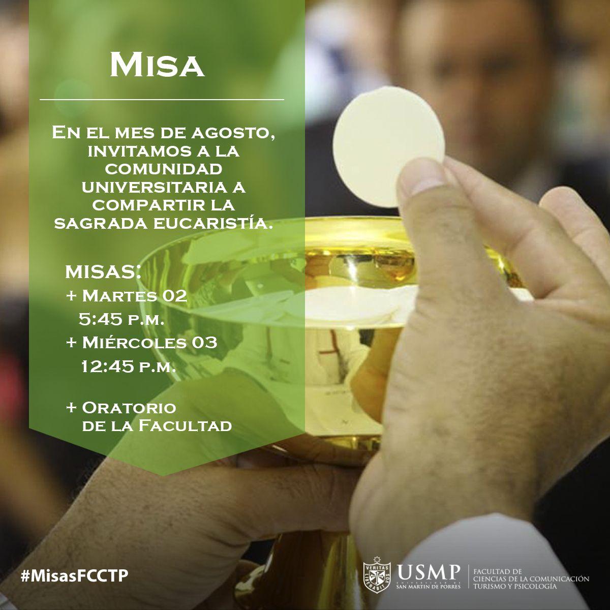 #MisasFCCTP   Empecemos un nuevo mes recargados de paz espiritual. Ven a nuestro Oratorio para compartir la sagrada Eucaristía.