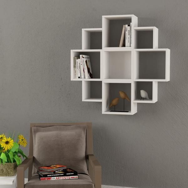 Cubes Cubic Shaped Square Round Wall Bookshelf Unit In White Colour