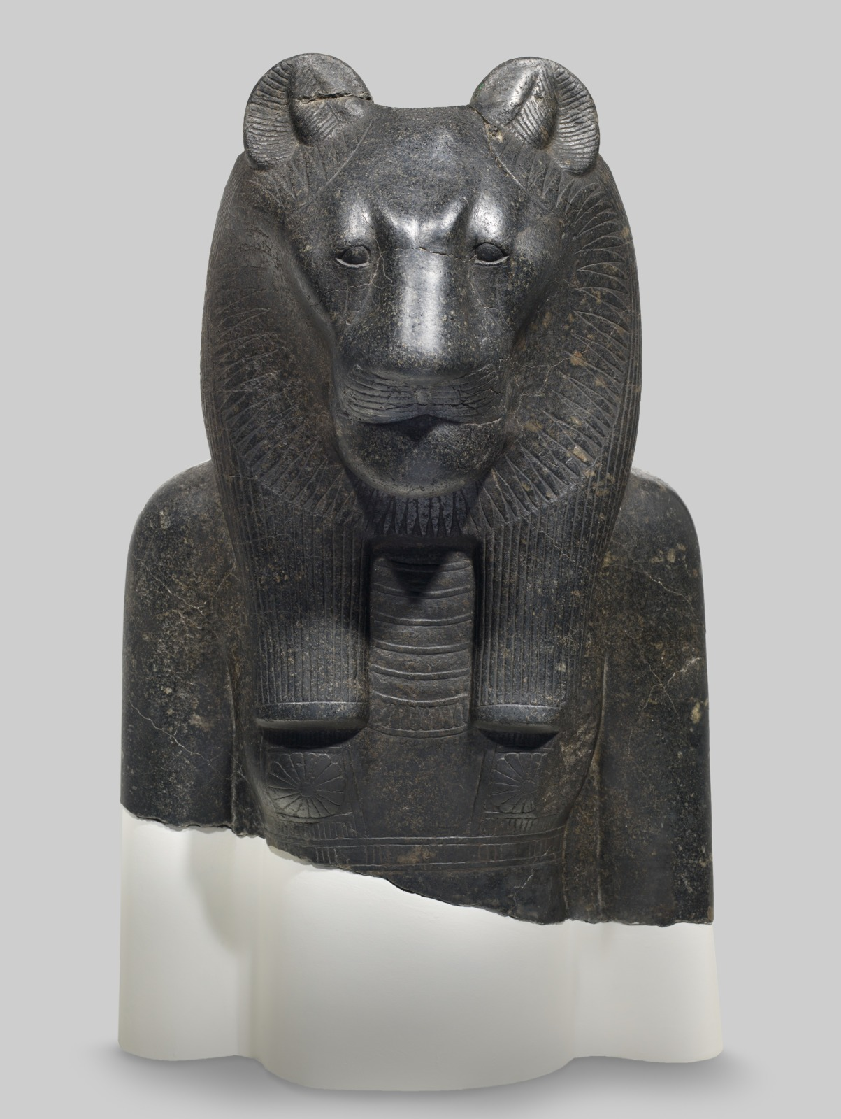"""theancientwayoflife: """"~ Bust Fragment from a Colossal Statue of Sekhmet. Date: 1390-1352 B.C. Place of origin: Thebes, Egypt Medium: Black granite """""""
