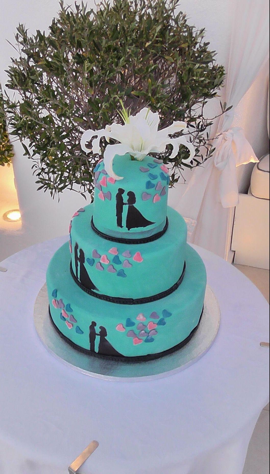 Our tiffany u co style wedding cake santorini wedding pinterest