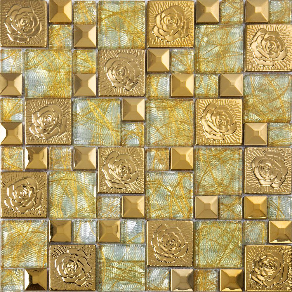 Metal mosaic tile mirror kitchen backsplash metal crystal glass stone - Gold Stainless Steel Flower Patterns Metal And Glass Mosaic Tiles Pyramid Crystal Glass Wall Stickers Kitchen Backsplash Cheap Mirror Walls