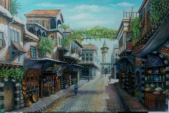 الحارات القديمة رسم بحث Google Damascus Syria Aleppo Syria Egyptian Art