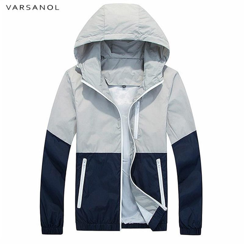4735a3d510bc6 Varsanol Spring Jacket Men Windbreaker 2018 Autumn Fashion Jacket Men s  Hooded Casual Jackets Male Coat Thin Men Coat Outwear