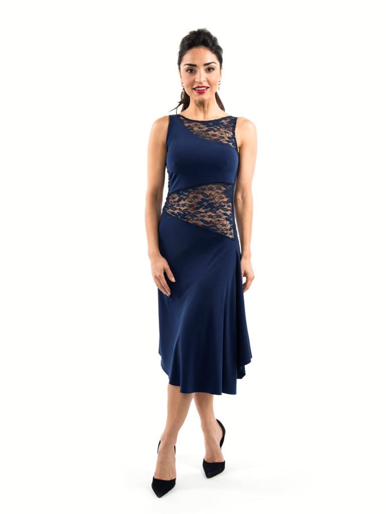 tango dress navy blue   abiti, abiti blu, inserto in pizzo