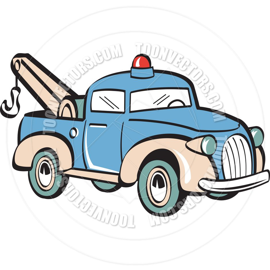 Tow Truck Clip Art Cartoon Tow Truck Vector Illustration By Clip