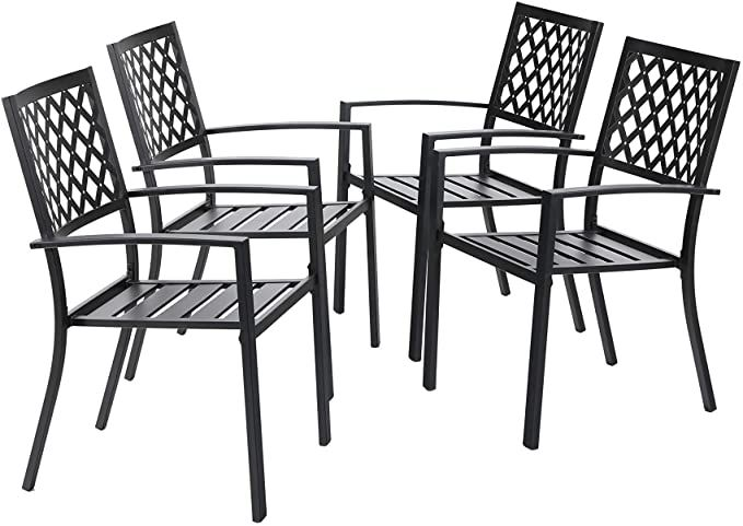 Amazon Com Mfstudio Black Metal Patio Stacking Chairs Wave Back Indoor Outdoor Dining Set Wrought I Metal Patio Chairs Outdoor Dining Set Wrought Iron Chairs Black metal patio chairs