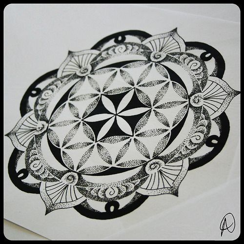 35 Spiritual Mandala Tattoo Designs: A Flower Of Life Mandala Tattoo Design By Thomas Hooper