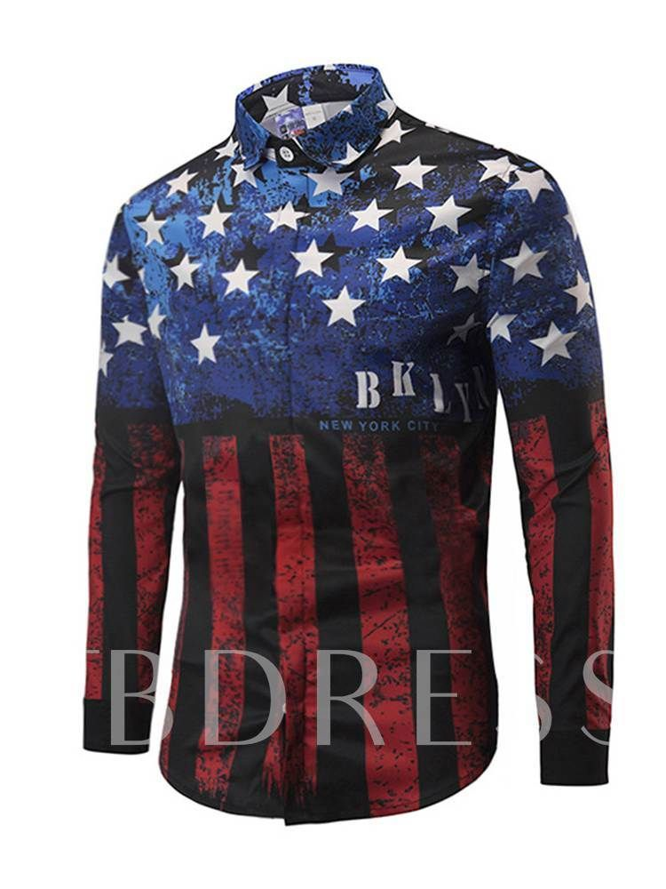 American Flag Patchwork Men S Shirt Casual Shirts Loose Casual Shirt Mens Shirts