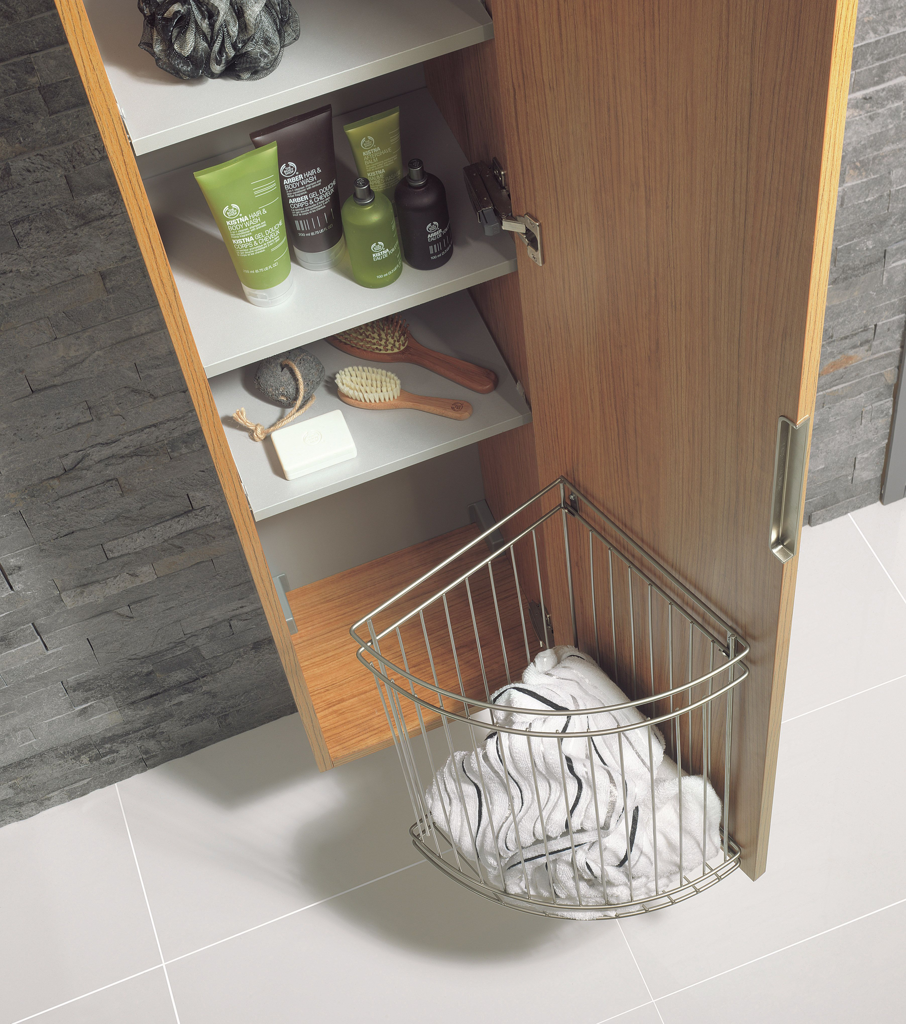 Linea teakwood bathroom furniture tower unit from crosswater