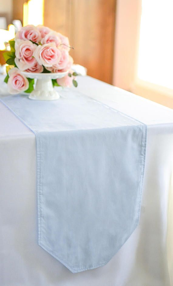 Solid Color Sky Blue Table Runner Light Scarf