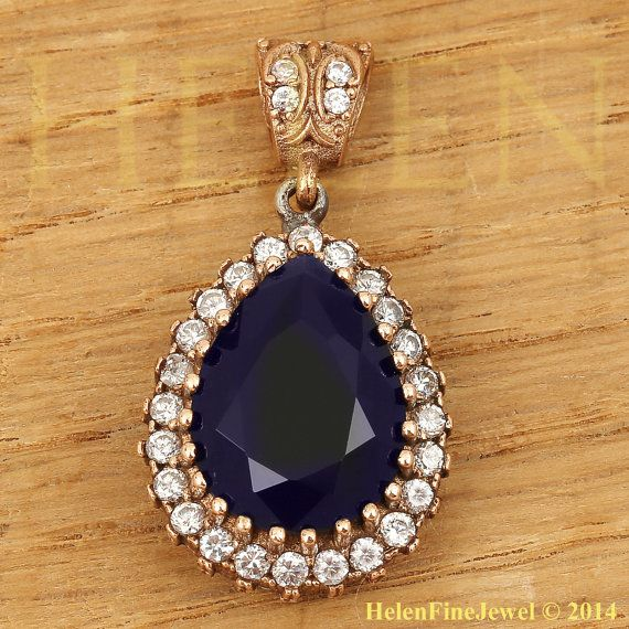 Hurrem Sultan Pendant  Tear Drop Shape Sapphire by helenfinejewels