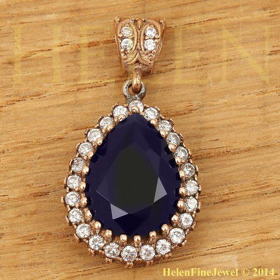 Hurrem Sultan Pendant  Tear Drop Shape Sapphire by helenfinejewels