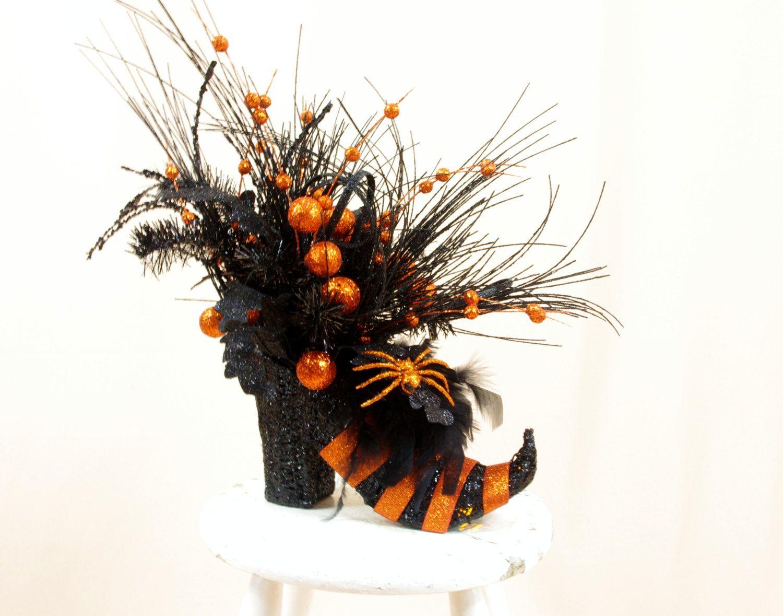 Orange And Black Witch Boot Centerpiece Halloween