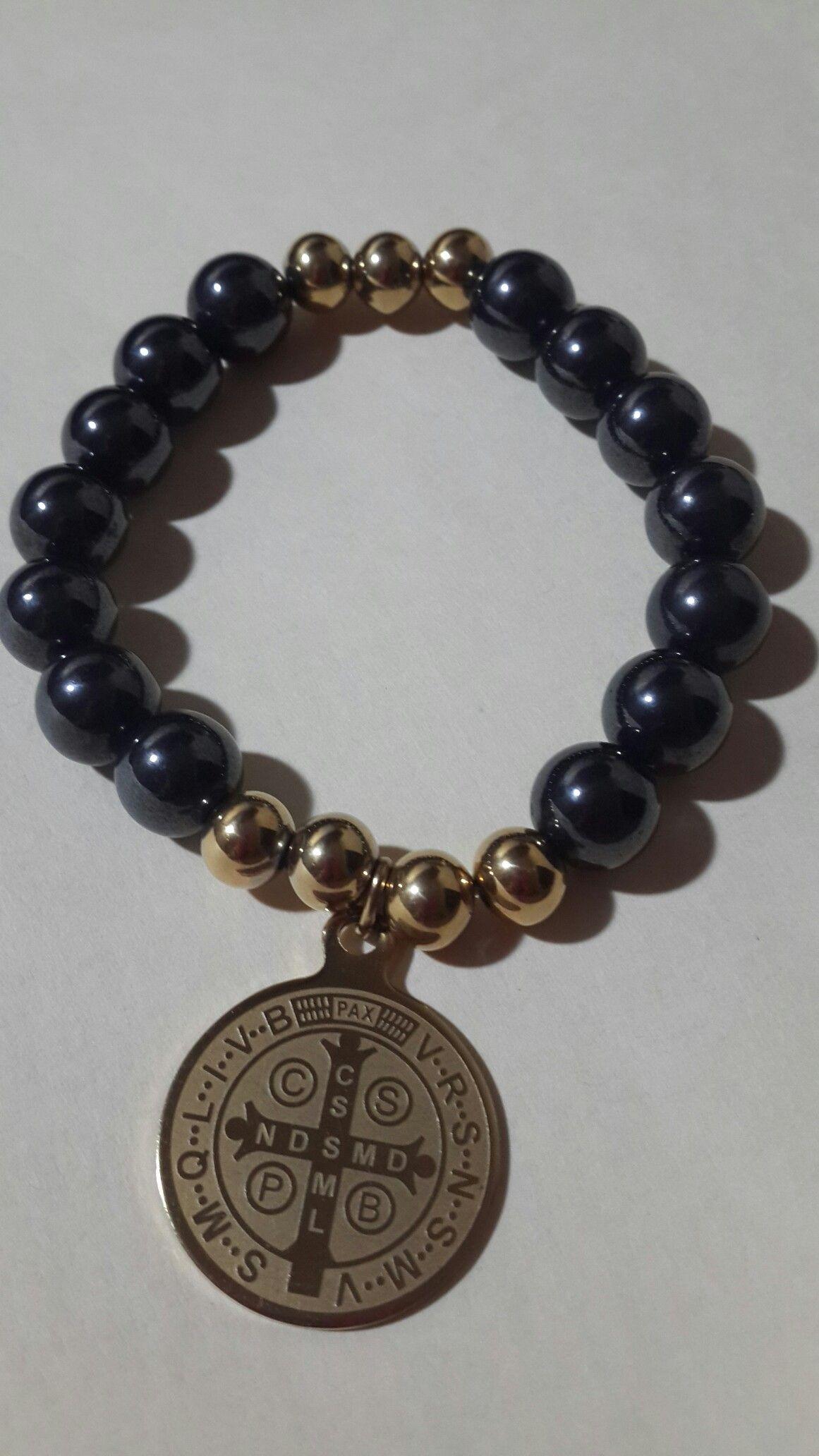 eca793442ec1 Pulsera acerina y acero inoxidable Medalla San Benito. Kml | Pulseras
