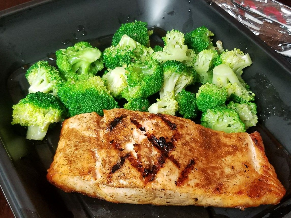 My Low Carb Take Out Last Night Grilled Salmon Steamed Broccoli And A Side Caesar Salad From Lebee S Grill Bar Carside To Go Yum