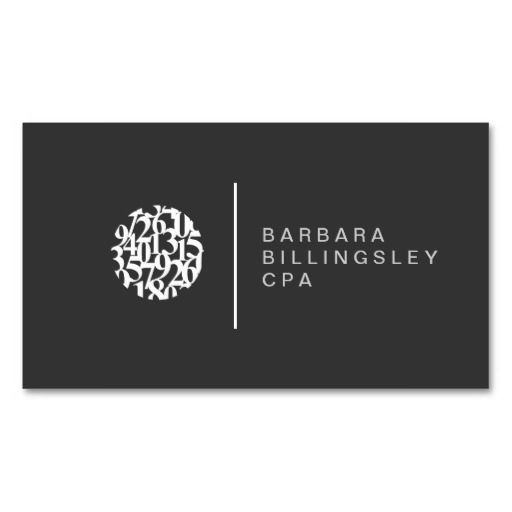 Modern Numbers Logo Accountant Business Card Card Templates - Easy business card template